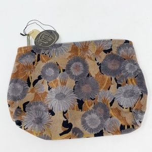 NEW Ella Firenze Velvet Floral Cosmetic Bag Pouch